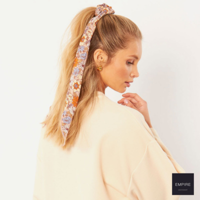 AMUSE SOCIETY WHY KNOT SCRUNCHIE WOVEN SCARF - Mushroom